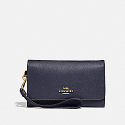 COACH FLAP PHONE WALLET - MIDNIGHT/light gold - F30205