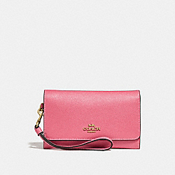 COACH FLAP PHONE WALLET - PEONY/light gold - F30205
