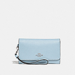 COACH FLAP PHONE WALLET - SILVER/PALE BLUE - F30205