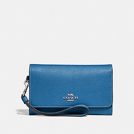 COACH FLAP PHONE WALLET - SKY BLUE/SILVER - F30205