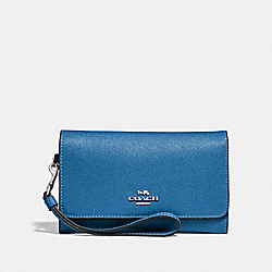 FLAP PHONE WALLET - SKY BLUE/SILVER - COACH F30205