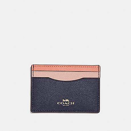 COACH CARD CASE IN COLORBLOCK - SUNRISE MULTI/light gold - f30218