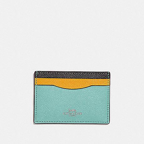COACH CARD CASE IN COLORBLOCK - SILVER/BLUE MULTI - f30218