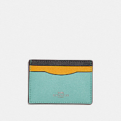 COACH CARD CASE IN COLORBLOCK - SILVER/BLUE MULTI - F30218