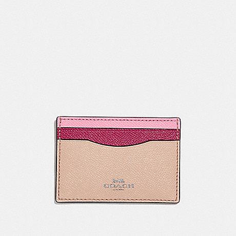 COACH CARD CASE IN COLORBLOCK - SILVER/PINK MULTI - f30218