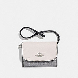 COACH CARD POUCH IN COLORBLOCK - CHALK MULTI/SILVER - F30219