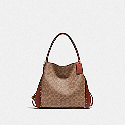 EDIE SHOULDER BAG 31 IN SIGNATURE CANVAS WITH RIVETS - B4/RUST - COACH F30220