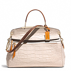 COACH MADISON PINNACLE  CROC EMBOSSED FRAME TOP HANDLE SATCHEL - LIGHT GOLD/BLUSH - F30225