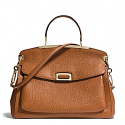 COACH MADISON PEBBLED LEATHER PINNACLE FRAME TOP HANDLE - LIGHT GOLD/BURNT CAMEL - F30228