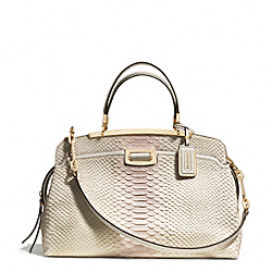 COACH MADISON PINNACLE PYTHON EMBOSSED DEGRADE LEATHER DOMED SATCHEL - LIGHT GOLD/NEUTRAL PINK - F30235