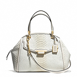 COACH MADISON PINNACLE PYTHON EMBOSSED DEGRADE LEATHER DOMED SATCHEL - LIGHT GOLD/WHITE IVORY - F30243