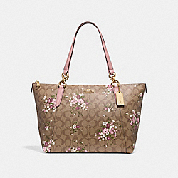 AVA TOTE IN SIGNATURE CANVAS WITH FLORAL BUNDLE PRINT - KHAKI/MULTI/IMITATION GOLD - COACH F30247