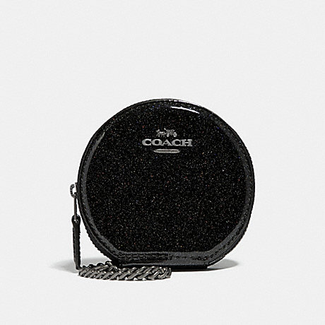 COACH ROUND COIN CASE - ANTIQUE NICKEL/BLACK MULTI - f30253
