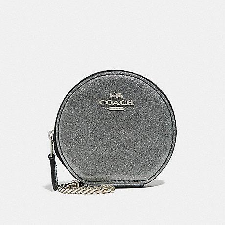 COACH ROUND COIN CASE - SILVER/SILVER MULTI - f30253