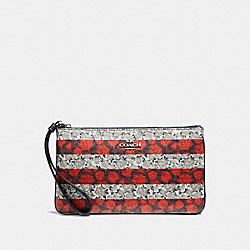 LARGE WRISTLET WITH ROSE QUEEN PRINT - f30255 - MULTI/SILVER