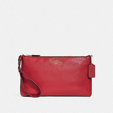 COACH LARGE WRISTLET 25 - TRUE RED/LIGHT GOLD - F30257