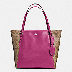 COACH PEYTON COATED CANVAS SAFFIANO TOTE - SILVER/KHAKI/PASSION BERRY - F30301