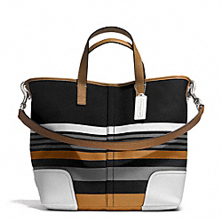 HADLEY MULTI STRIPE DUFFLE - SILVER/BLACK MULTI - COACH F30302