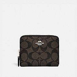 COACH SMALL ZIP AROUND WALLET IN SIGNATURE CANVAS - BROWN/BLACK/light gold - F30308