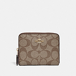 COACH SMALL ZIP AROUND WALLET IN SIGNATURE CANVAS - KHAKI/SADDLE 2/IMITATION GOLD - F30308