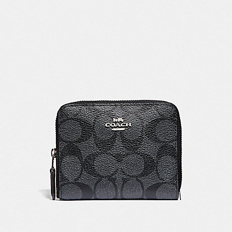 COACH SMALL ZIP AROUND WALLET IN SIGNATURE CANVAS - BLACK SMOKE/BLACK/SILVER - F30308