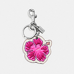 HIBISCUS BAG CHARM - SILVER/HOT PINK - COACH F30310