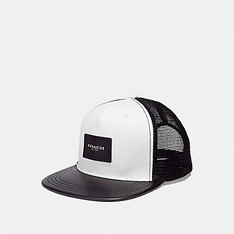 COACH MIXED MATERIAL FLAT BRIM HAT - CHALK BLACK - f30331