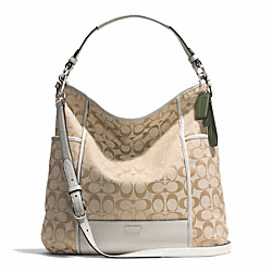 COACH PARK SIGNATURE HOBO - SILVER/LIGHT KHAKI/PARCHMENT - F30341