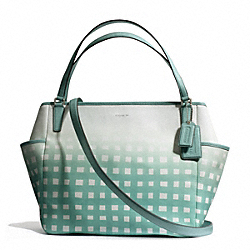 COACH GINGHAM SAFFIANO BABY BAG TOTE - SILVER/WHITE/DUCK EGG - F30342