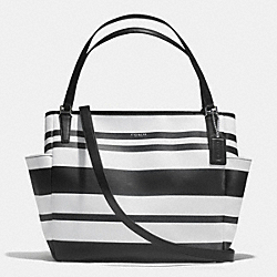 COACH STRIPED COATED CANVAS BABY BAG TOTE - SILVER/BLACK/WHITE - F30343