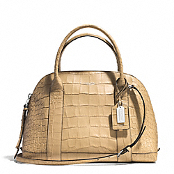 BLEECKER PINNACLE CROC EMBOSSED LEATHER PRESTON SATCHEL - f30345 - SILVER/FWN