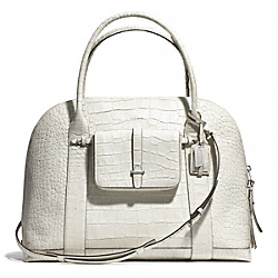 COACH BLEECKER CROC EMBOSSED PINNACLE XL PRESTON SATCHEL - SILVER/WHITE - F30346