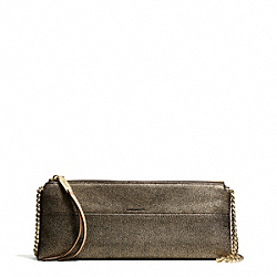 THE METALLIC LEATHER EAST/WEST HIGHRISE SHOULDER BAG - f30369 - GOLD/GOLD