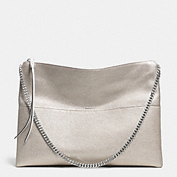THE METALLIC LEATHER LARGE HIGHRISE SHOULDER BAG - f30371 - UE/SILVER