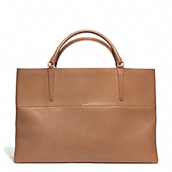 COACH THE LARGE RETRO GLOVE TAN LEATHER EAST/WEST TOWN TOTE - GOLD/CAMEL/BRIGHT MANDARIN - F30378