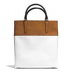COACH THE COLORBLOCK BOARSKIN TOWN TOTE - UE/NAVY TAN/WHITE - F30384