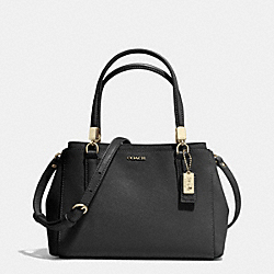 MADISON SAFFIANO LEATHER MINI CHRISTIE CARRYALL - f30402 - LIGHT GOLD/BLACK
