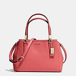 COACH MADISON SAFFIANO LEATHER MINI CHRISTIE CARRYALL - LIGHT GOLD/LOGANBERRY - F30402