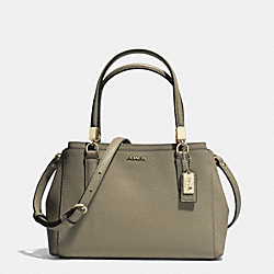 MADISON SAFFIANO LEATHER MINI CHRISTIE CARRYALL - f30402 - LIGHT GOLD/OLIGHT GOLDVE GREY