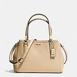 MADISON SAFFIANO LEATHER MINI CHRISTIE CARRYALL - f30402 - LIGHT GOLD/TAN