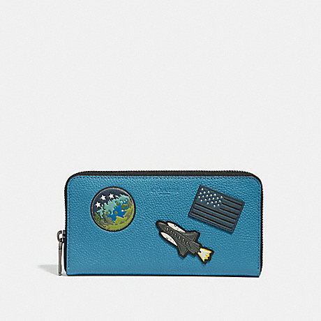 COACH ACCORDION WALLET WITH SPACE PATCHES - River - f30422