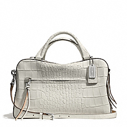 COACH BLEECKER MATTE CROC EMBOSSED PINNACLE TOASTER SATCHEL - SILVER/WHITE - F30449