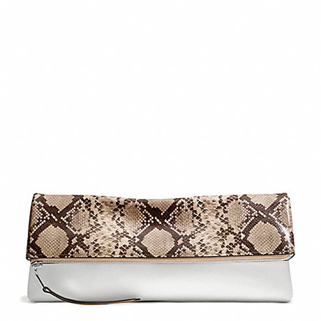 COACH THE LARGE PYTHON PRINTED CLUTCHABLE - UE/SNAKE/WHITE - f30463
