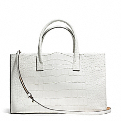 COACH BLEECKER CROC EMBOSSED PINNACLE STUDIO TOTE - SILVER/WHITE - F30513