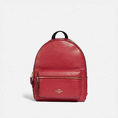 COACH MEDIUM CHARLIE BACKPACK - TRUE RED/LIGHT GOLD - F30550