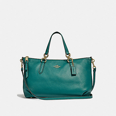 COACH ALLY SATCHEL - DARK TURQUOISE/LIGHT GOLD - F30565