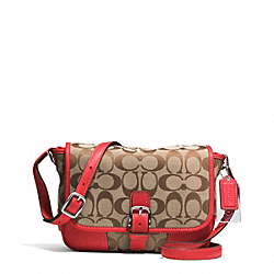 COACH HADLEY SIGNATURE FIELD BAG - SILVER/KHAKI/BRIGHT RED - F30601