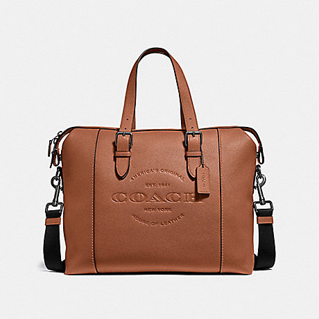 COACH HUDSON BRIEF - SADDLE/BLACK ANTIQUE NICKEL - F30620