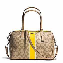 SIGNATURE STRIPE NANCY SATCHEL - f30662 - SILVER/LIGHT KHAKI/YELLOW