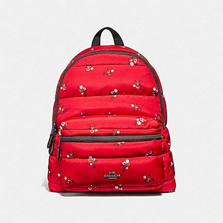 COACH CHARLIE BACKPACK WITH BABY BOUQUET PRINT - RED MULTI/BLACK ANTIQUE NICKEL - F30667